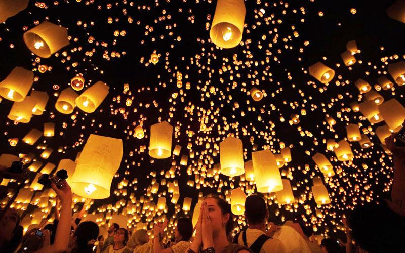 Yi Peng Lantern Festival i Chiang Mai, Thailand