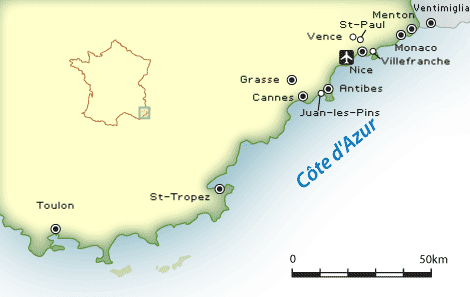 Prantsuse Riviera (Côte d'Azur) kaart ja