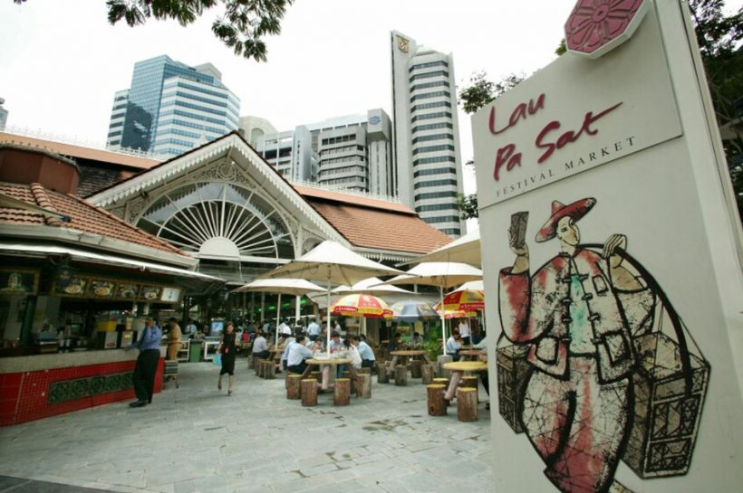 Spisning i Lau Pa Sat Festival Marked, Singapore