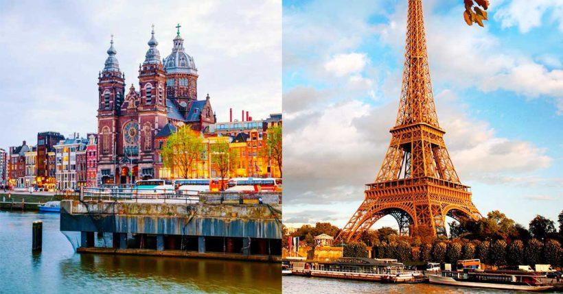 Como a viagem de Amsterdão a Paris