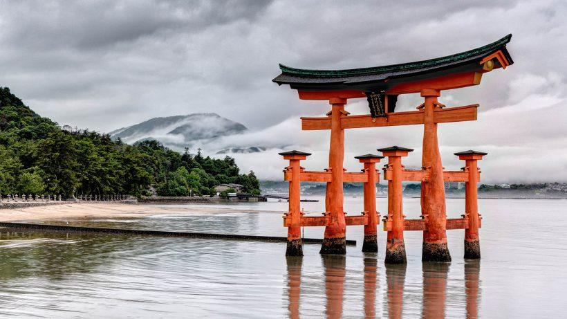 Een bezoekers naar Miyajima Island