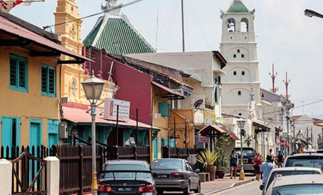 Jalan Tokong Malajsie - letmý pohled na staré Malacca ulice Harmony